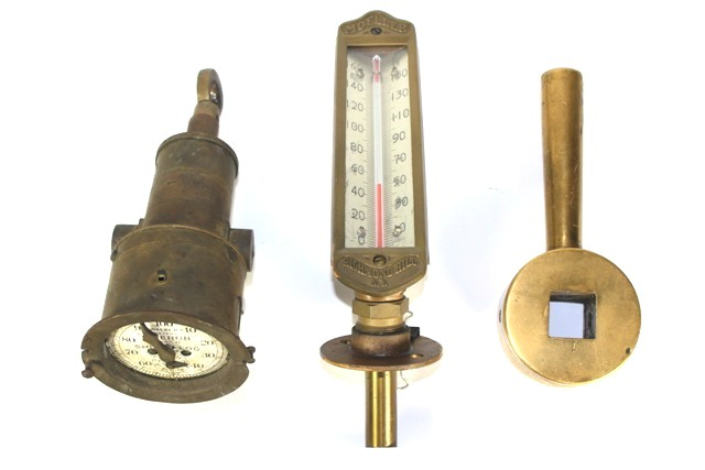 Steam Engine Wrench, Thermometer and Ship Log