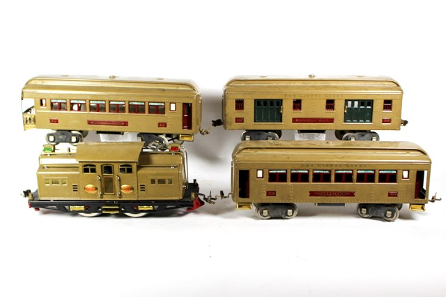 Lionel No. 8E & No. 38 Locomotive and Three Passenger Cars