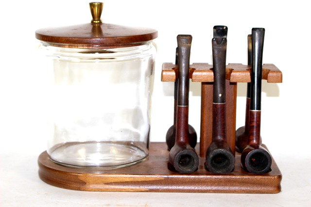 Tobacco Stand Glass Humidor and Six Pipes