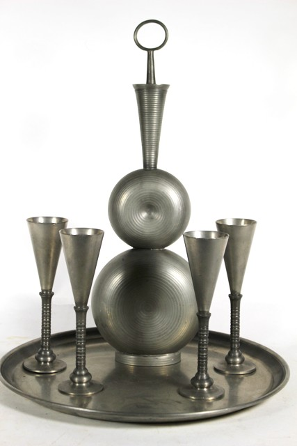 Havstad Norwegian Pewter Decanter and Cordial Set