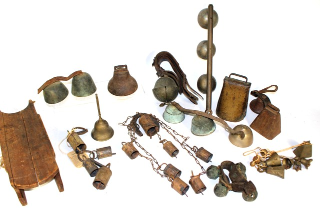 Large Collection of Sleigh Bells, Cow Bells and Brass Bells
