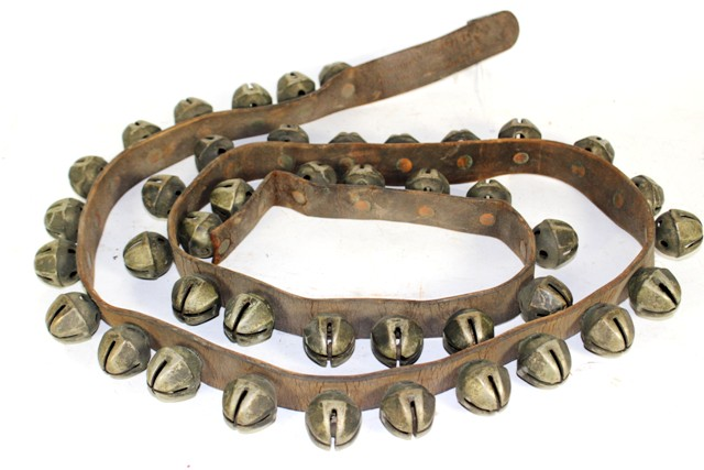 Vintage Octagonal Sleigh Bells On Leather Strap