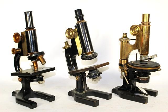 Three Vintage Brass Microscopes