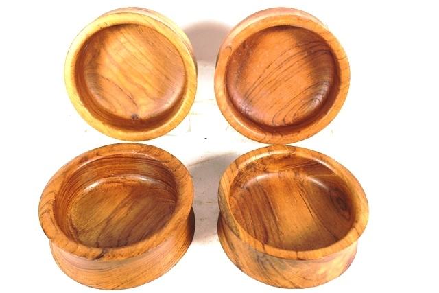 Kalmar Mid Century Modern Teak Wood Bowls (4)
