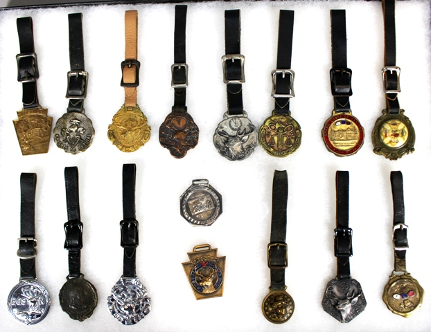Collection of 17 Fraternal Organization Watch Fobs