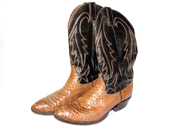 Wrangler Leather and Python Snake Skin Cowboy Boots