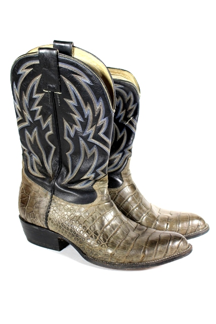 Stitched Leather and Alligator Skin Cowboy Boots