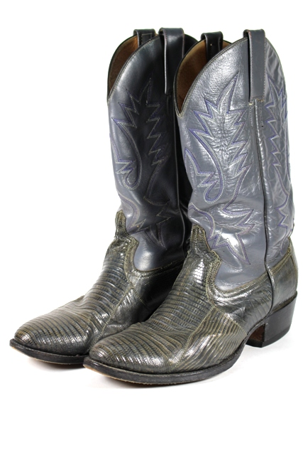 Genuine Leather and Iguana Skin Cowboy Boots