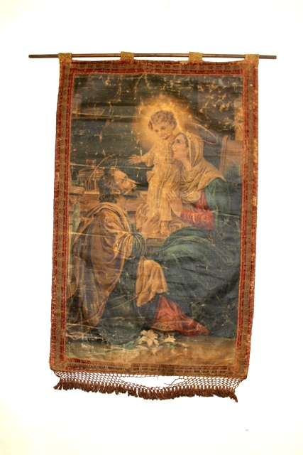 Early 20th C. Religious Painted Wall Tapestry