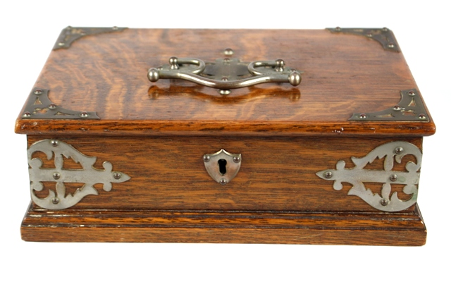 Antique English Oak Box with Brass Bindings
