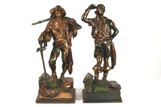 ca 1920 Pompeian Bronze Co. Figural Clad Bookends