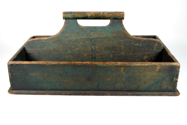 ca 1840 Green Painted Pine Utility Tray