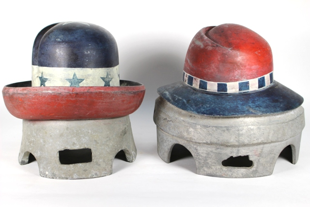ca 1930 Painted Aluminum Hat Molds