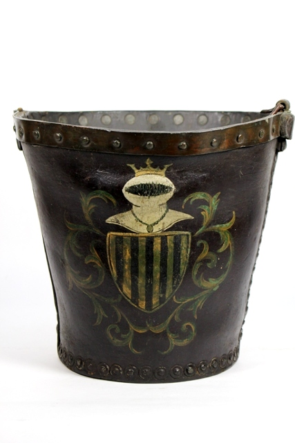 Antique English Leather Fire Bucket with Armorial Crest