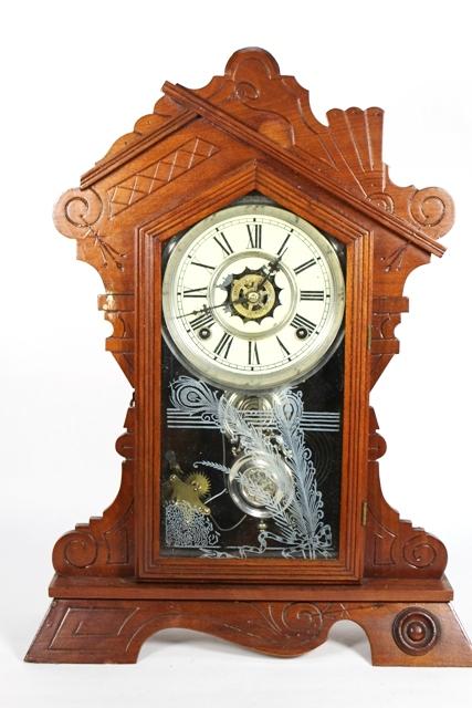 1870's Waterbury Walnut Mantle Clock