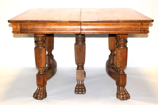 Square Oak Claw foot Table