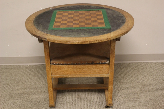 Unusual Mission Oak Tilt Top Game Table and Chair
