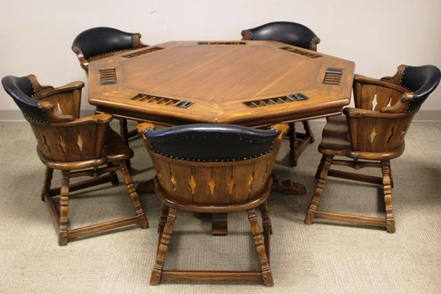 Romweber Viking Oak Poker Table and Five Chairs