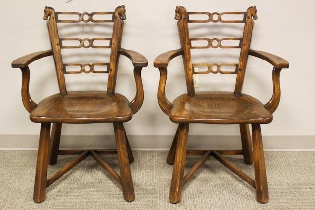 Romweber Viking Oak Horse Head Arm Chairs