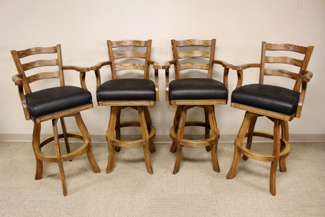 Four Late 20th Century Oak Bar Stools