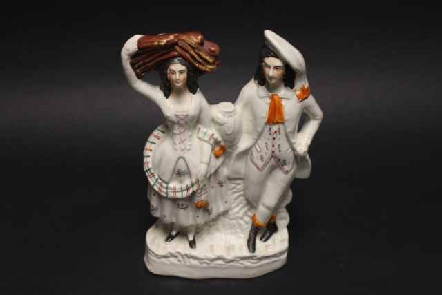 19th C. Staffordshire Figural Highland Lad and Lassie