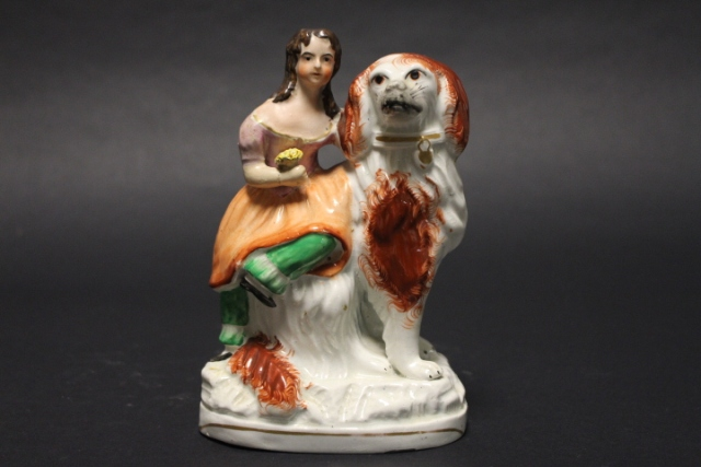 19th Century Staffordshire Woman and Spaniel Figural