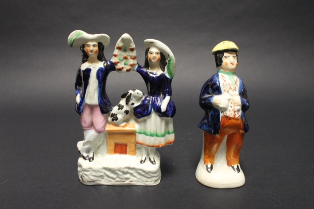 Staffordshire Figural Salt Shaker and Victorian Couple