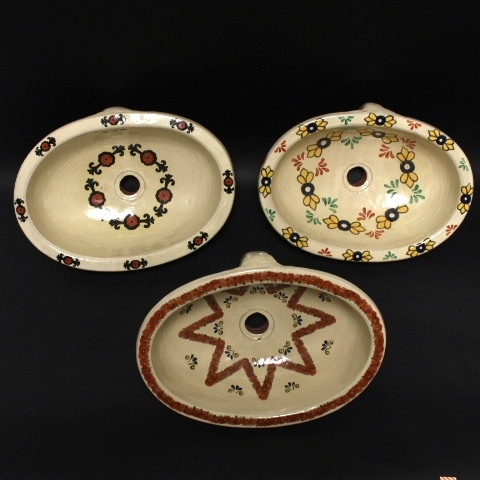 Three Early 20th Century Hand Painted Terracotta Sinks