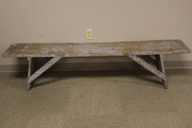 19th century Painted Country Primitive Bench