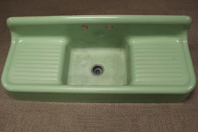 ca. 1950's Mint Green Enameled Cast Iron Sink