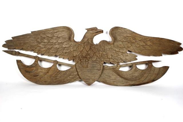 ca 1900 Bellamy Style Carved Wood Eagle Folk Art