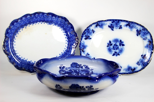 English Flow Blue Ironstone Bowl and Two Platters