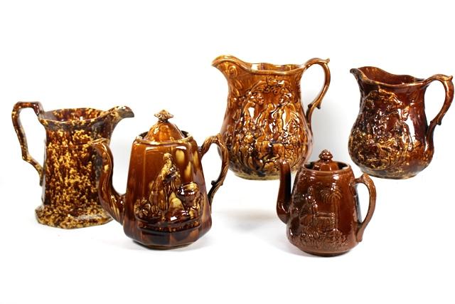 Bennington Pottery Mottled Brown Glaze Pitchers
