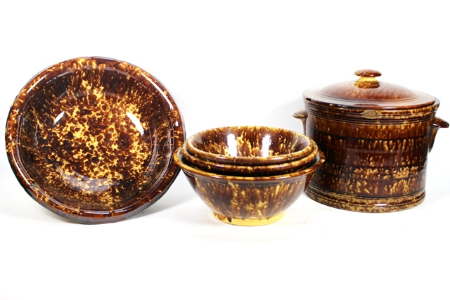 Bennington Pottery Mottled Brown Glaze Crock & Bowls