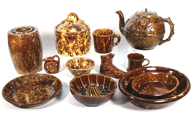 Collection of Bennington Pottery Mottled Brown Glaze