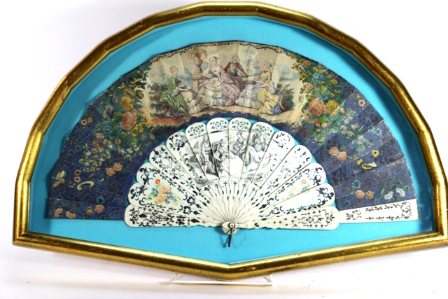 19th C. French Victorian Hand Painted Folding Fan