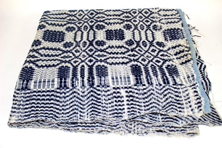 ca. 1870 American Blue and White Coverlet