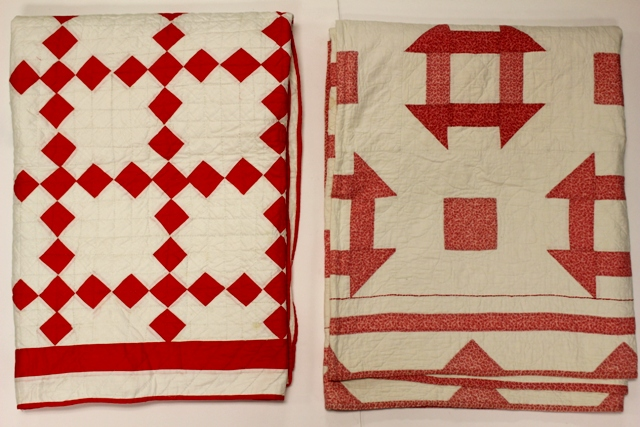 Red Square and Greek Cross Patterned Country Quilts