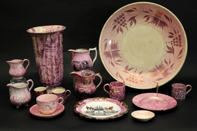 19th C. Sunderland English Spatterrose Lustreware