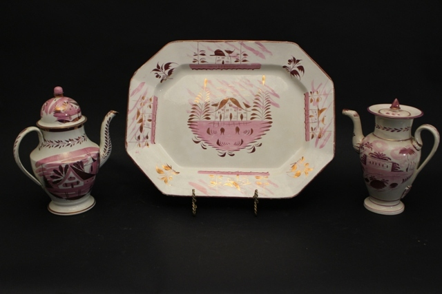 Staffordshire House Pattern Teapots and Platter Lustre