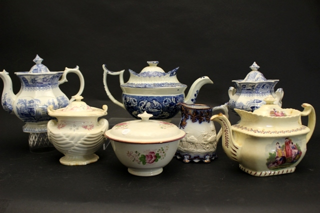 Collection of Staffordshire Ironstone Teapots and Pieces