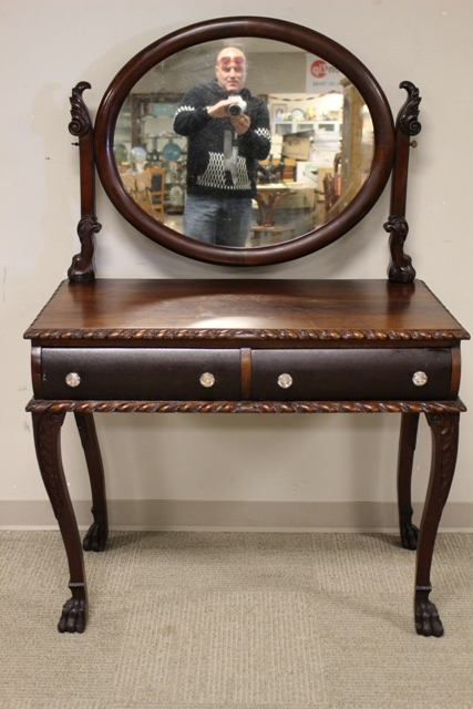 19th Century Mahogany Hairy Paw Foot Vanity