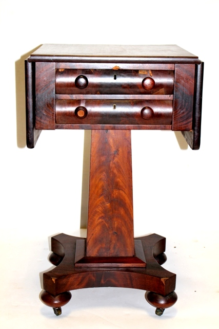 19th C. Empire Mahogany Two Drawer Work Stand