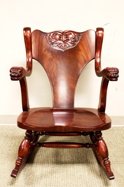 19th Century North Wind Face Carved Rocking Chair