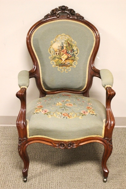 Carved Victorian Needlepoint Arm Chair