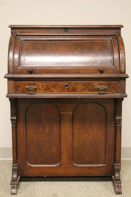 Victorian Walnut Cylinder Roll Desk