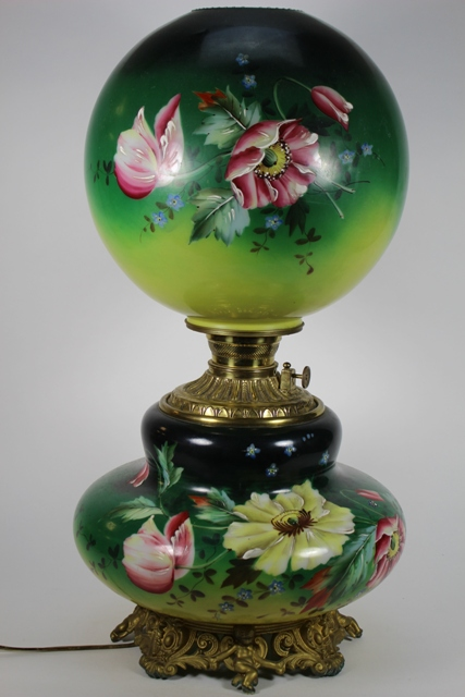 Antique Hand Painted GWTW Lamp Electrified