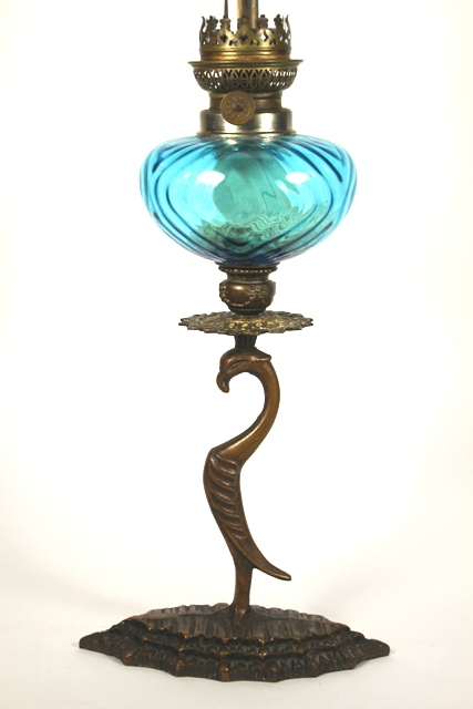 Late 19th C. Bronze Oil Lamp with Blue Glass Font