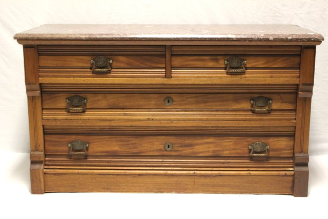 19th Century Victorian Walnut Marble Top Dresser