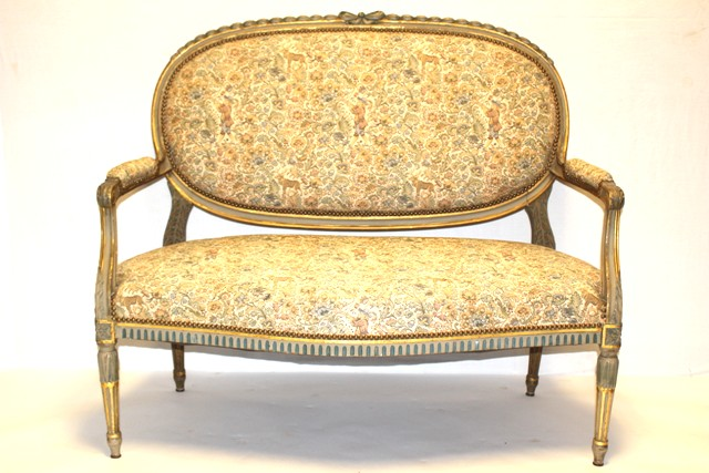 19th Century French Gilded Upholstered Settee